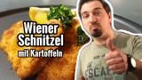 Schnitzel Wiener Art mit Kartoffeln und Gurkensalat