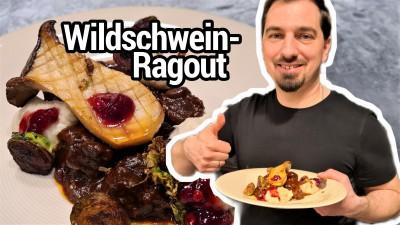 Wildschweinragout mit Sellerie-Püree und gebratenem Rosenkohl